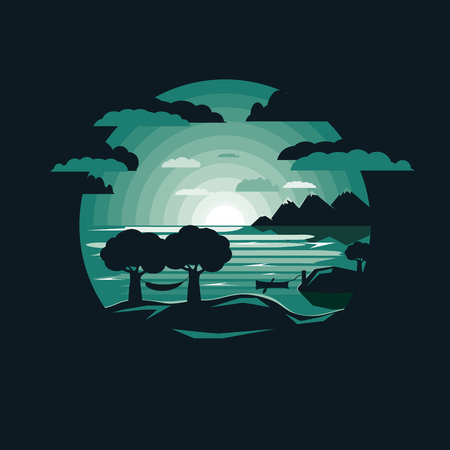 Silhouette Hammock on mount by lake with boat.Night sky .Negative space flat design Ilustração