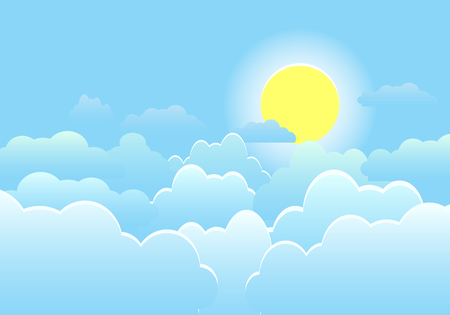 Sky with clouds on a sunny day. Vector illustration Vector Illustration