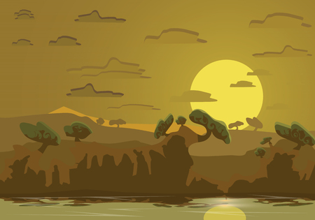 Abstract tropican landscape.River in the jungle.flat design