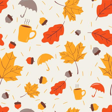 Patrón sin fisuras con bellotas, paraguas, taza de té y hojas de roble otoñal. rellenos de patrón, fondo de la página web, tarjeta de felicitación de otoño.