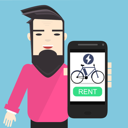 young character in pink pullover showing mobile app to rent electric bike