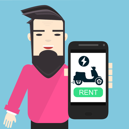 young character in pink pullover showing mobile app to rent electric motorbike