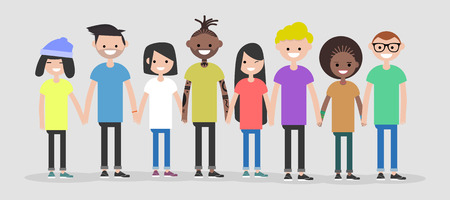 Set of Multiracial characters.Group of young people.Flat design