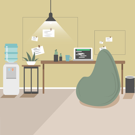 Workplace. Design bureau. Workspace. Flat vector illustration. Stylish and cozy.