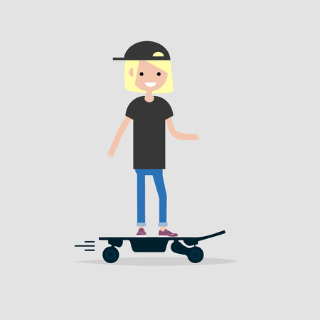 Young female hipster Character rides on electric skateboard.flat design Illustration