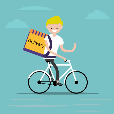 bicycle delivery character with parcel box on the back. Ecological city bike food delivering service concept with courier carrying package on modern city background. delivery cyclist. Ilustração