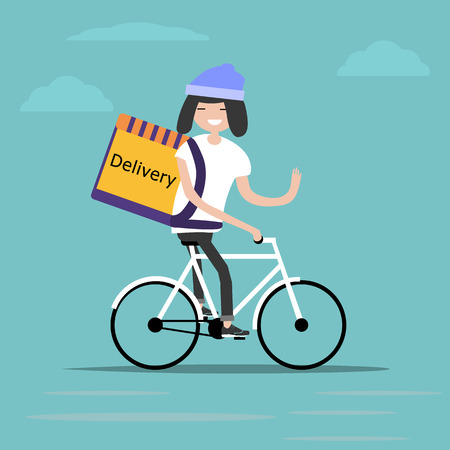 bicycle delivery character with parcel box on the back. Ecological city bike food delivering service concept with courier carrying package on modern city background. delivery cyclist. Standard-Bild - 127533741