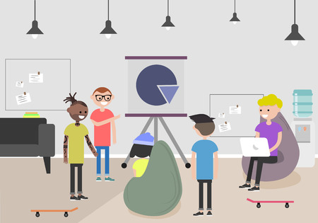 Vector illustration of coworking space. Working place, office. Modern office. Millennials at work. Flat design.