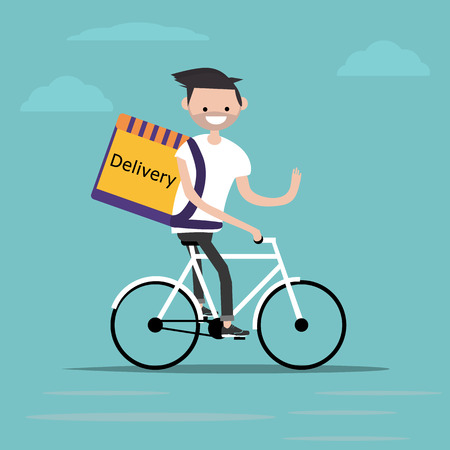 bicycle delivery character with parcel box on the back. Ecological city bike food delivering service concept with courier carrying package on modern city background. delivery cyclist. Standard-Bild - 127533745