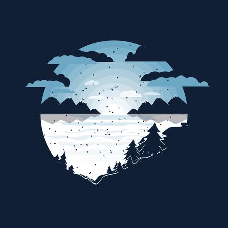 winter in the village vector illustration.negative space design Standard-Bild - 127387092