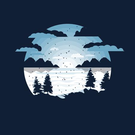 winter in the village vector illustration.negative space design Illustration
