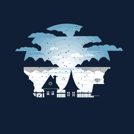 winter in the village vector illustration.negative space design Standard-Bild - 127344017