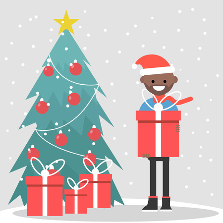 Young character standing near by a christmas tree and holding a gift box. Flat vector illustration