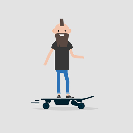 Young male hipster Character rides on electric skateboard.flat design