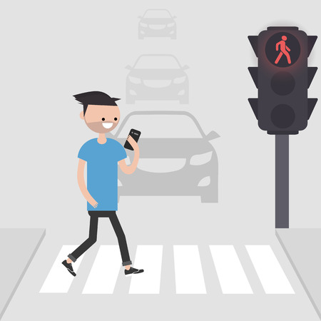 Young male character goes on a pedestrian crossing and looking into the phone.addicted to smartphone. Nomophobia. Flat vector illustration Standard-Bild - 127259334