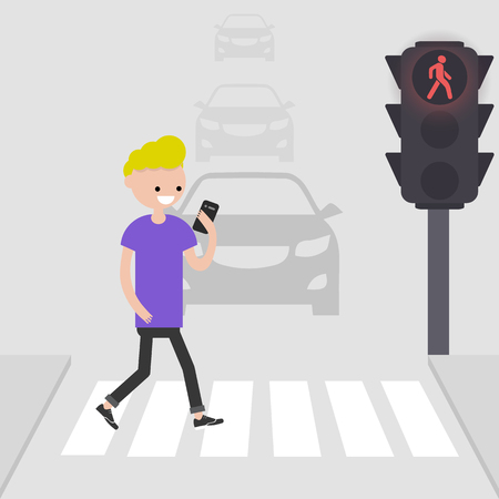 Young male character goes on a pedestrian crossing and looking into the phone.addicted to smartphone. Nomophobia. Flat vector illustration