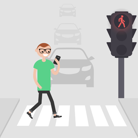 Young male character goes on a pedestrian crossing and looking into the phone.addicted to smartphone. Nomophobia. Flat vector illustration Standard-Bild - 127259336