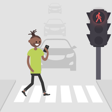 Young american african male character goes on a pedestrian crossing and looking into the phone.addicted to smartphone. Nomophobia. Flat vector illustration Illustration