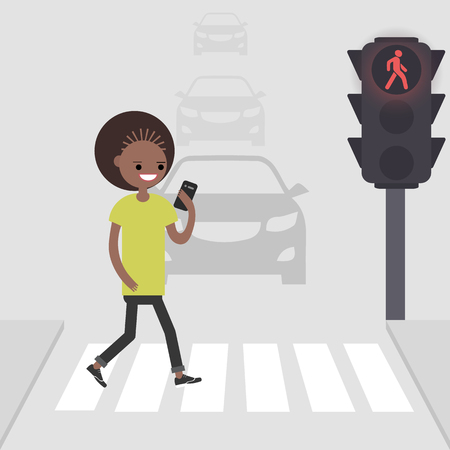 Young female character goes on a pedestrian crossing and looking into the phone.addicted to smartphone. Nomophobia. Flat vector illustration