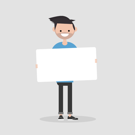 Young cartoon male character holding a sheet of white paper. Copy space. Flat vector illustration