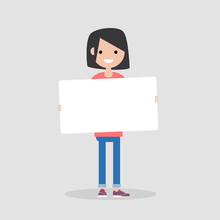 Young cartoon female character holding a sheet of white paper. Copy space. Flat vector illustration Standard-Bild - 127088355