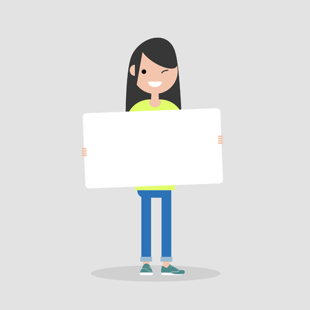 Young cartoon female character holding a sheet of white paper. Copy space. Flat vector illustration