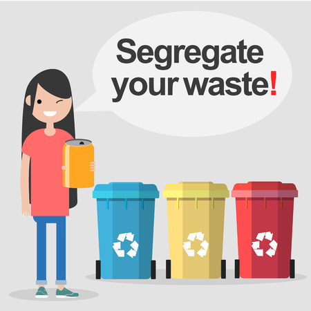 Segregate your waste. Conceptual illustration.flat cartoon design
