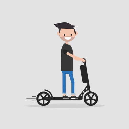 Young male Character rides on electric scooter.flat cartoon design.