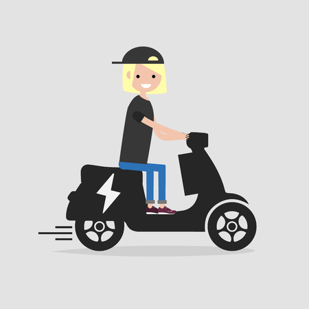 Young female Character rides on electric scooter.flat cartoon design.