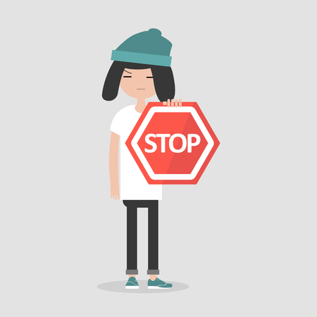 Young female character holding a red stop sign. Flat cartoon illustration