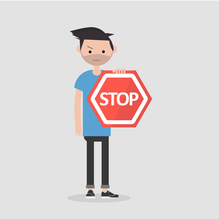 Young male character holding a red stop sign. Flat cartoon illustration Ilustração