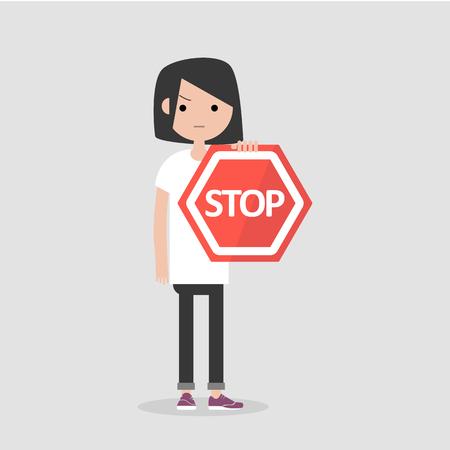 Jeune personnage féminin tenant un panneau d'arrêt rouge. Illustration de dessin animé plat Vecteurs