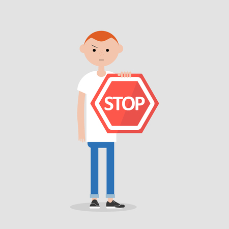 Young male character holding a red stop sign. Flat cartoon illustration Illustration