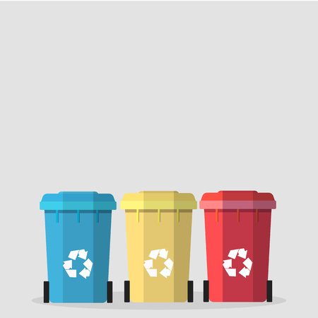Wheelie bin icon set with space for your text Ilustracja