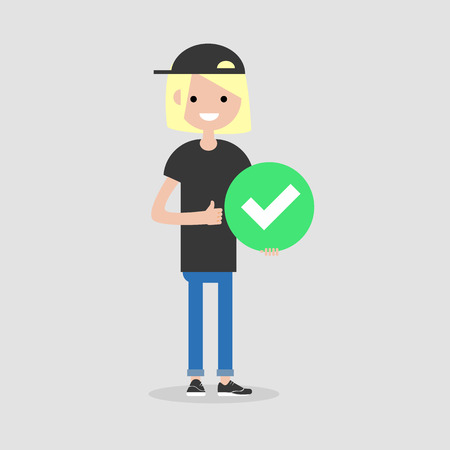 Young female character holding a green accepted sign. Flat cartoon illustration Illustration
