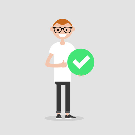 Young male character holding a green accepted sign. Flat cartoon illustration