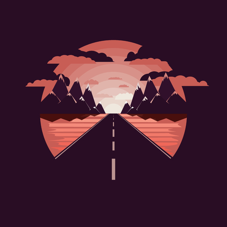 Road to the mountains, road icon, icon of the mountains, nature, road sign. Negative space.Flat design