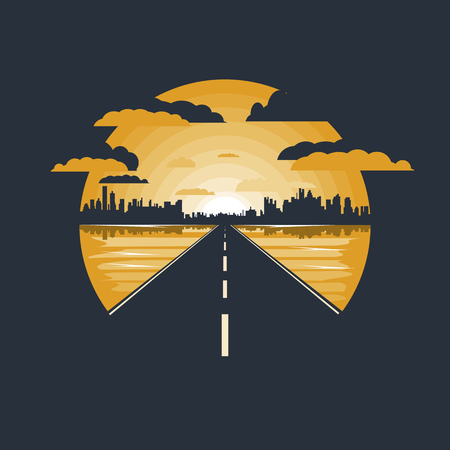 Road to the city, road icon, icon of the mountains, nature, road sign. Negative space.Flat design
