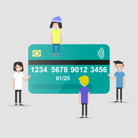 characters near the plastic credit card. Finance. Card payment. Flat design  イラスト・ベクター素材