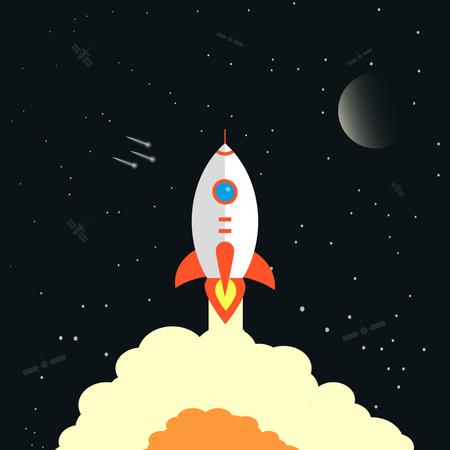 Lanzamiento de cohetes, nave ilustración vectorial, diseño plano