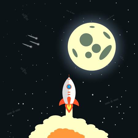 Rocket launch, ship.vector illustration,flat design