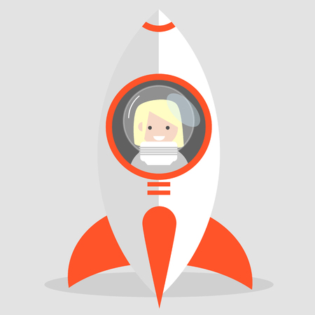 Young cartoon cosmonaut character in the rocket.flat cartoon design Ilustração