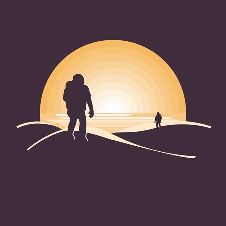 Mars colonization futuristic landscape with astronaut in desert.Negative space illustration Çizim
