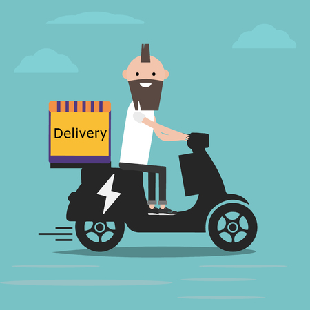 Young character on electric scooter delivery with parcel box on the back. Ecological city food delivering service concept with courier carrying package on modern city background.