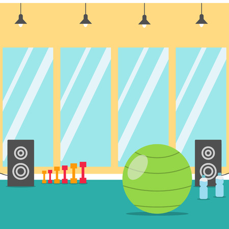 Sport Gym fitness interior with equipment. Flat Illustration