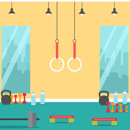 Sport Gym fitness interior with equipment. Flat Illustration Vetores