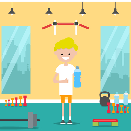 Young character shows water bottle and and thumb up in the gym.Flat cartoon design