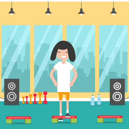 Young character doing cardio step exercise in the gym.Flat cartoon design