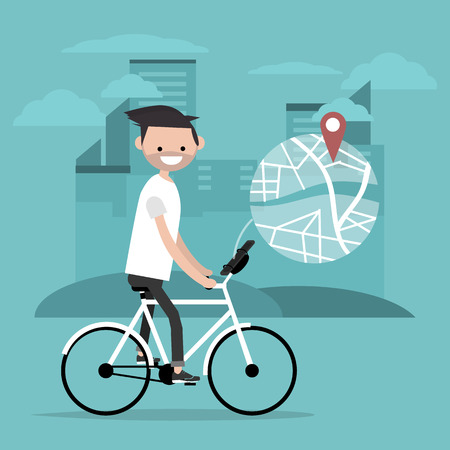 Young character riding a bike and using a navigational app. Map and geo tag on city background.Flat cartoon design.Clip art