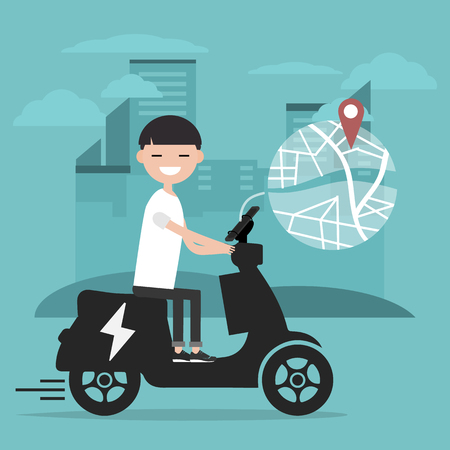 Young character riding an electric scooter and using a navigational app. Map and geo tag on city background.Flat cartoon design.Clip art Stockfoto - 124996712